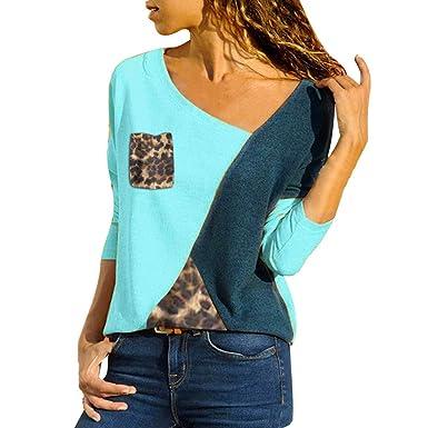 4d0fe2813977 Blouse for Women Plus Size Shirt Women Asymmetric Pullover Patch Leopard  Pocket T-Shirts