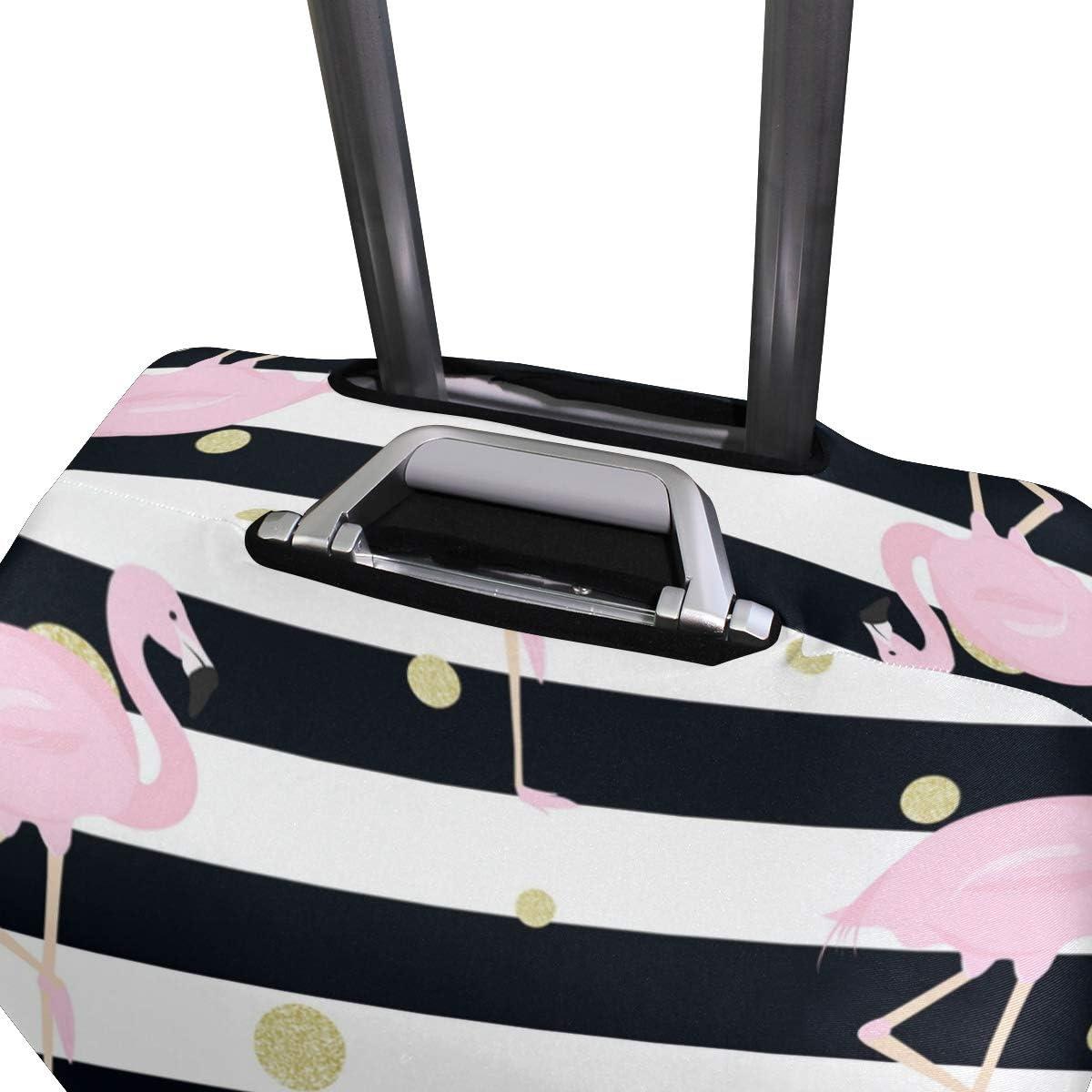 FANTAZIO Flamingos Gold Polka Dot Stripes Suitcase Protective Cover Luggage Cover