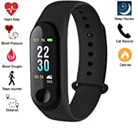 Meya Happy Fitness Tracker Watch M3 Heart Rate Band with Activity Tracker Waterproof Body Functions LIke Steps Counter , Calorie Counter , Blood Pressure ( Non Medical Purpose ) , Heart Rate Monitor OLED Touchscreen