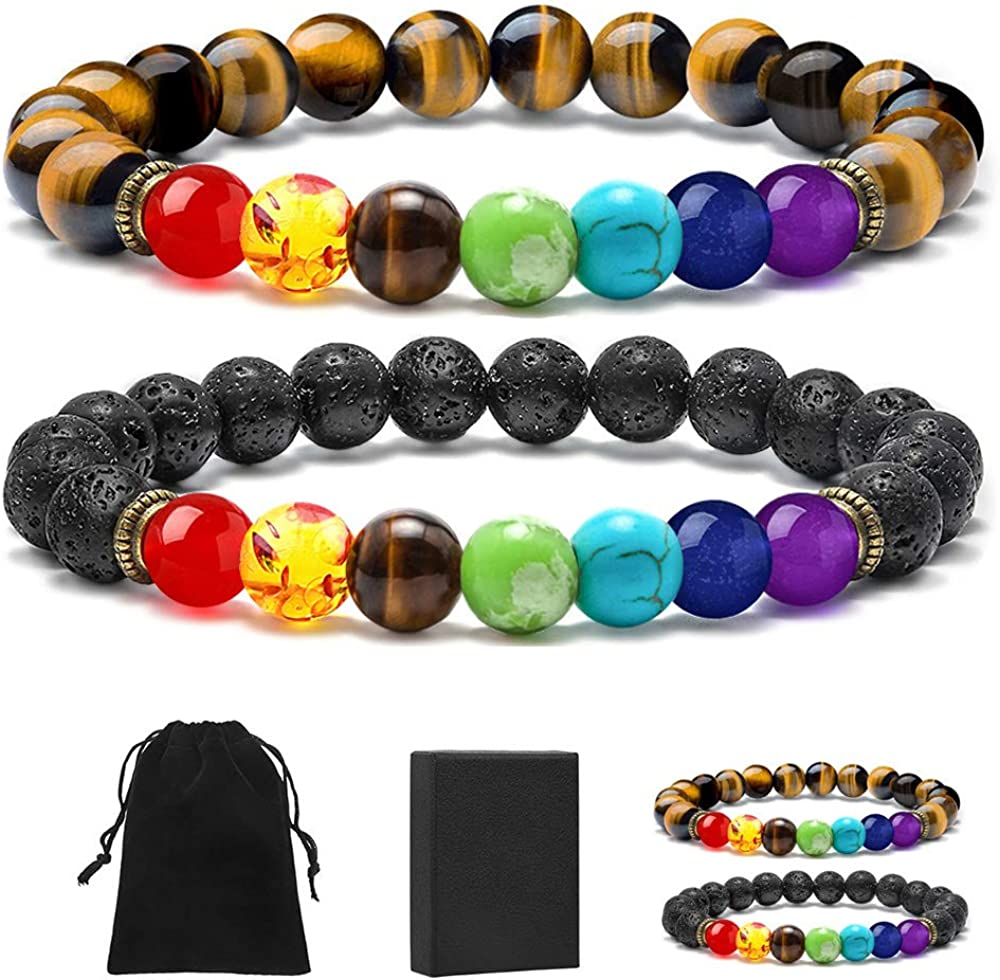 MONOZO Bead Chakra Bracelet - 7 Chakras 8mm Lava Rock Stone Anxiety Bracelet Essential Oil Diffuser Stone Yoga Beads Bracelets Meditation Relax Healing Aromatherapy Bangle for Men Wonmen Kids