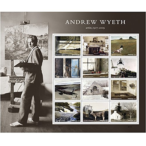 Andrew Wyeth Sheet of 12 USPS First Class Postage Stamps American Artist Paintings