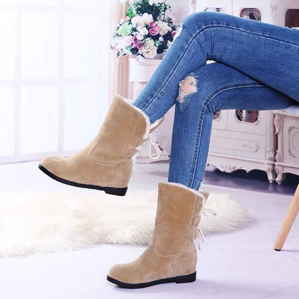 Easemax Womens Trendy Furry Round Toe Middle Hidden Wedge Heel Back Tie Pull on Mid Calf Boots