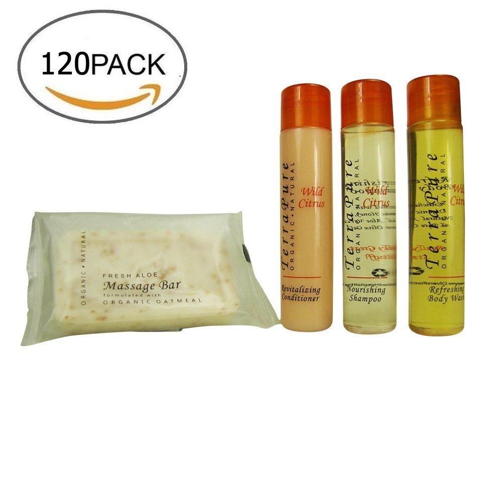 Terra Pure Wild Citrus Organic & Natural BNB Amenity & travel Sets - Shampoo, Conditioner & Body Wash (SETS) (120 Piece)