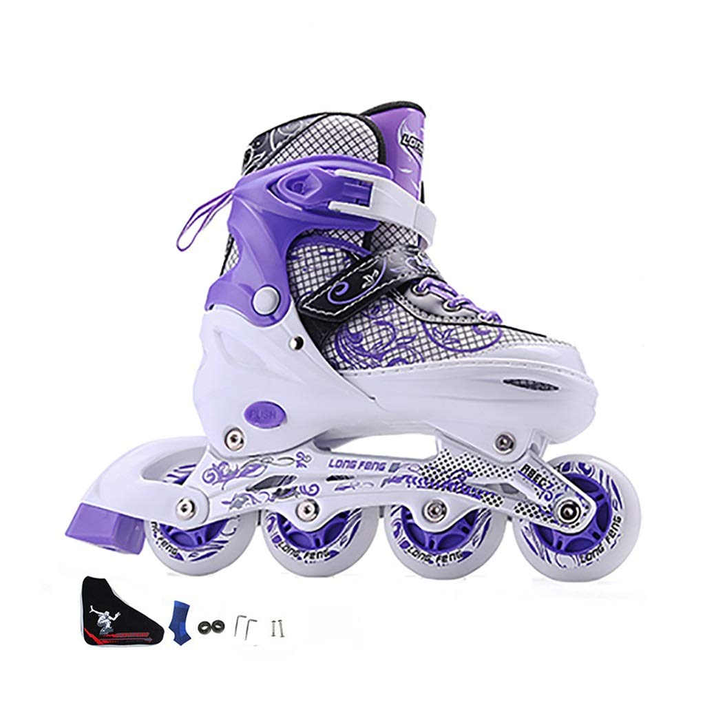 Illuminating Wheels Women Beginner Outdoor Inline Skates, Fun Flashing Adult Adjustable Recreation Indoor Racing Skates,Performance Youth Rollerblades Gift to Men Teen and Male