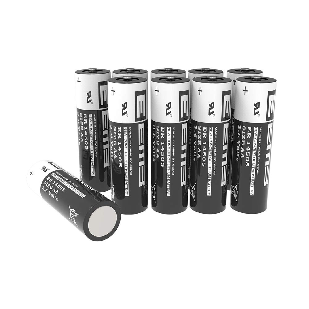 10Packs EEMB AA 3.6V Lithium Battery ER14505 LS14500 Li-SOCl2 2400 mAh XL-060F LR6/AM3 (Non Rechargeable) UL Certified Compatible for Dog Watch Fence Collars Baby Movement Monitor, Alarm Systems
