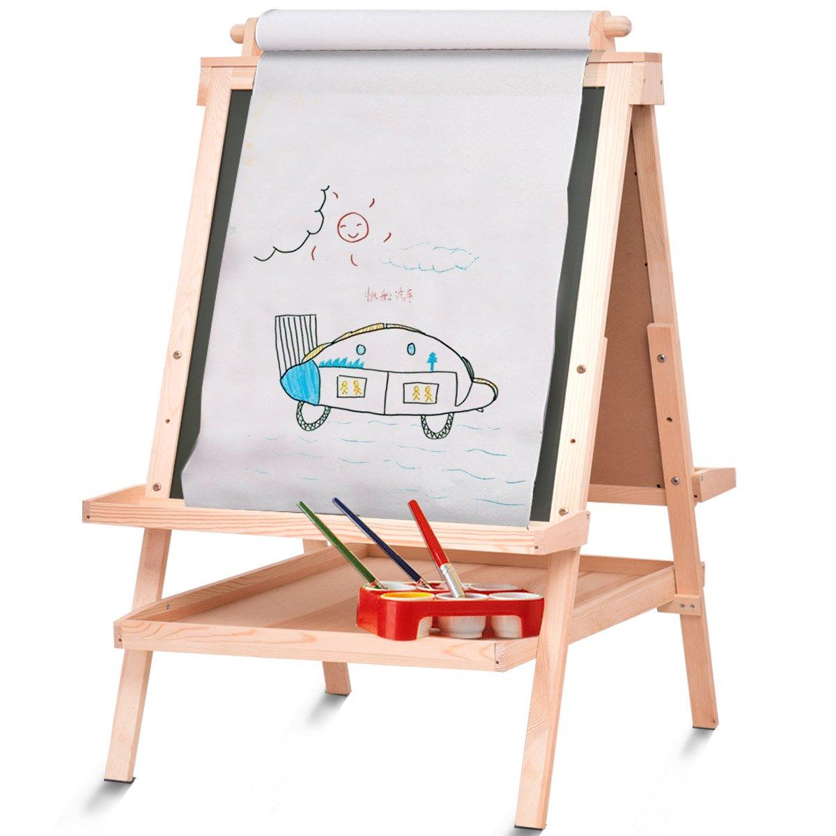 costzon kids wooden art easel adjustable double side standing easel w paper rol ebay. Black Bedroom Furniture Sets. Home Design Ideas