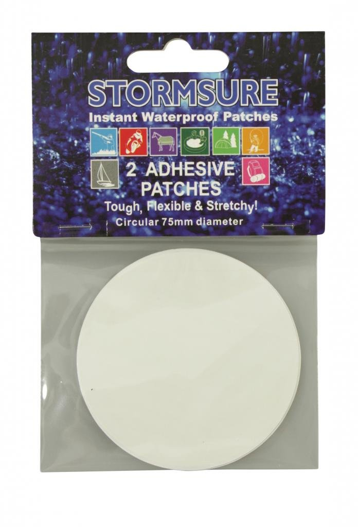 Stormsure 2 x Stretchy Circular Self Adhesive Patches Glue 75mm Dia Pk2 TUFF2X75