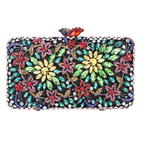Purse Dressing Evening Flower Rhinestone Crystal Multicolor Bonjanvye for Clutch Match Women xnUqIPwA8w