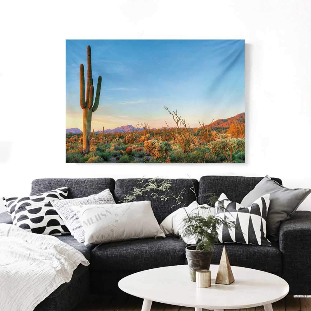 Saguaro Canvas Wall Art for Bedroom Home Decorations Sun Goes Down in Desert Prickly Pear Cactus Southwest Texas National Park Art Stickers 48''x32'' Orange Blue Green by BlountDecor