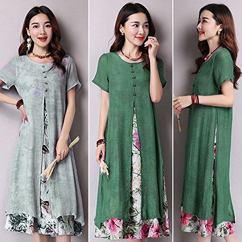 WYHUI New Kleid Robe Vintage Women Short Sleeve Fake Two Floral Dresses Linen Kaftan Loose Long Maxi Dress Green ()