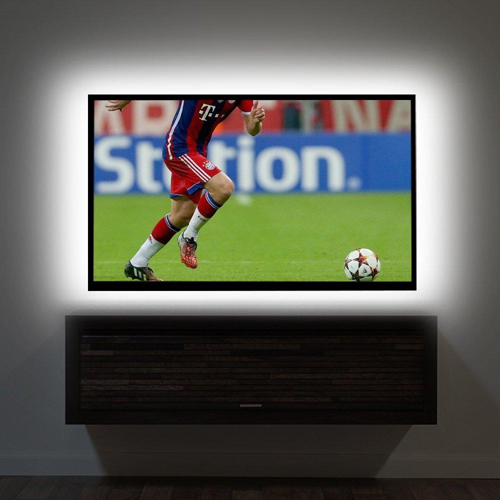 TV Backlight Kit,Vansky Bias Lighting for 40-60'' HDTV USB Powered 6.6ft White LED Strip Lights for Flat Screen TV, Desktop PC (Reduce Eye Fatigue, Increase Image Clarity)
