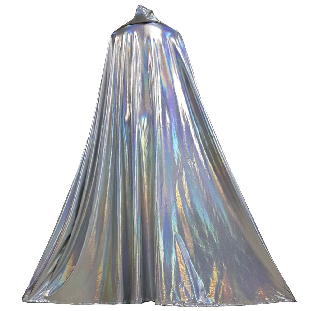 Pinda 60'' Long Full Length Silver Holographic Hooded Cape Cloak Unisex Coat Halloween Costumes (60 inch, 8087silver)