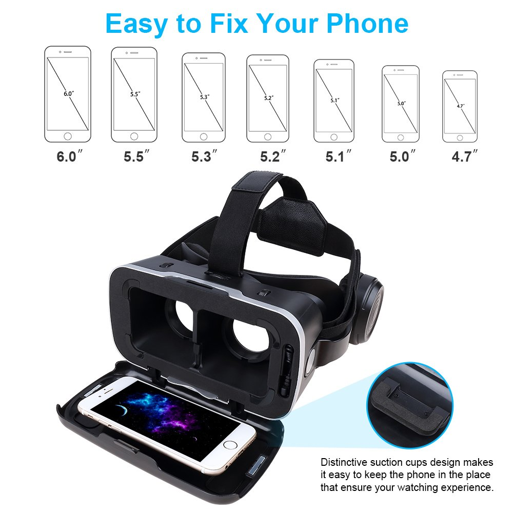Pansonite Vr Headset with Remote Controller, 3d Glasses Virtual Reality Headset for VR Games & 3D Movies, Eye Care System for iPhone and Android Smartphones (Sb-black) by Pansonite (Image #8)
