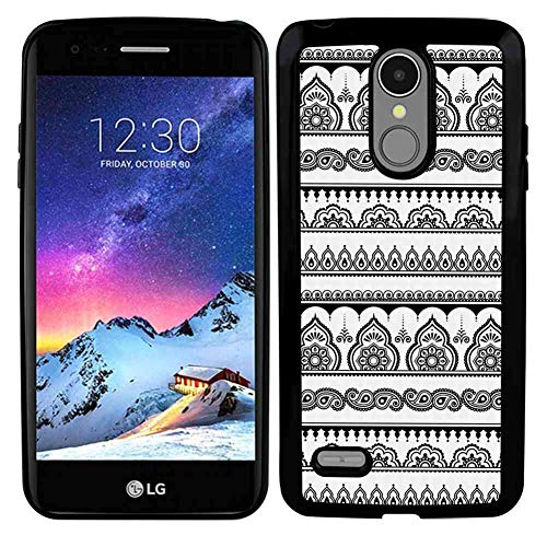 TPU Phone Case Fits for LG K8 (2017) 5inch Henna Eastern Tattoo Design with Various Ornamental and Geometric Shapes Monochrome Style Black White
