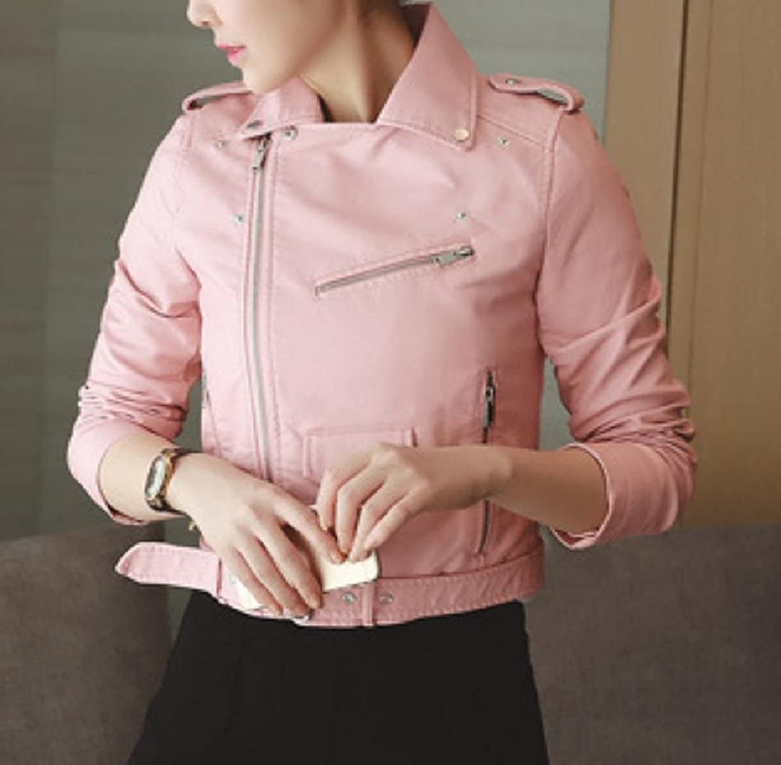 YUNY Women Motorcycle Coat Trucker Leather Classic Vogue Biker Jacket Pink S