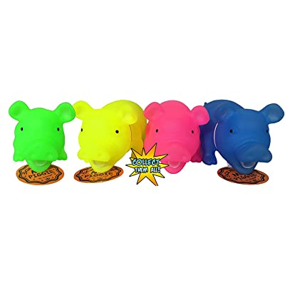 Glow in The Dark Squeeze Me and Oink Piggie by Animolds Size 8 inch Different Colors Great Toy to Teach Kids About Pigs and Learn About Animals (Colors May Vary): Office Products