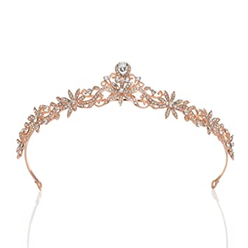 Bridal Hair Accessory Wedding Rhinestone Tiara Crown Headband  Bride Hair Jewelry Rose Gold Crystal Crown