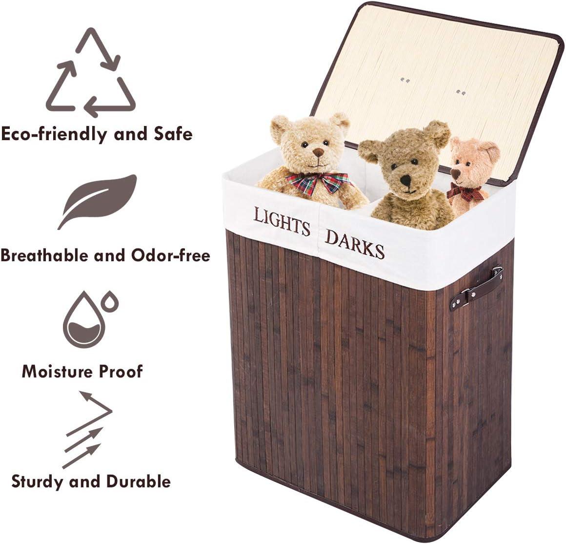 Giantex Folding Double Rectangle Bamboo Hamper Laundry Basket Cloth Storage Bag Lid Natural