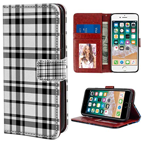 - iPhone 7, iPhone 8 Wallet Case, Plaid Black and White Tartan Pattern Graphic Grid Art Design with Traditional Influences Black White PU Leather Folio Case with Card Holder and ID Coin Slot