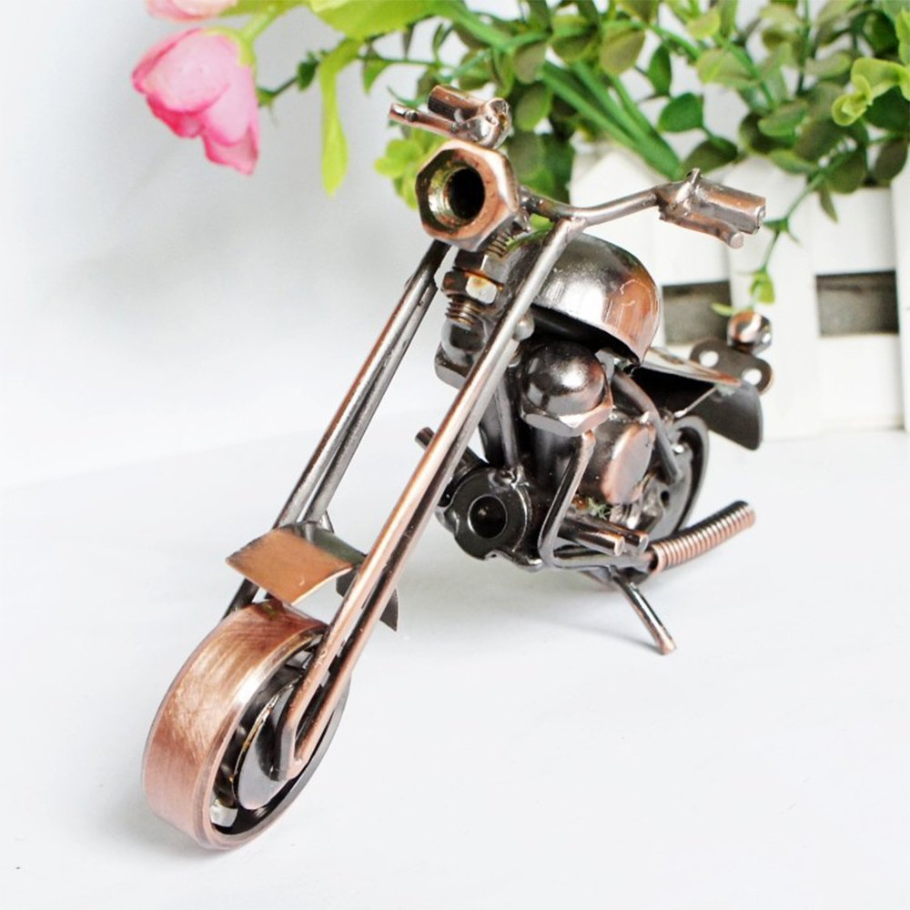 Rosepoem Motorcycle Model Sculpture Creative 15*10*7cm 2 Color Desktop Scrap Metal Art