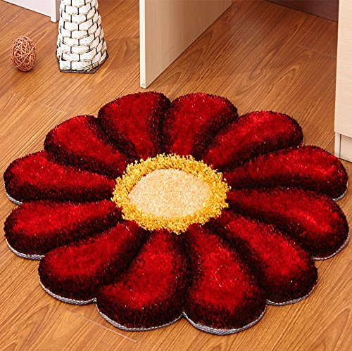 Sunflower Round Bedroom Living Room Bedside Chrysanthemum Computer Swivel Chair Children Cartoon Carpet by CarPet