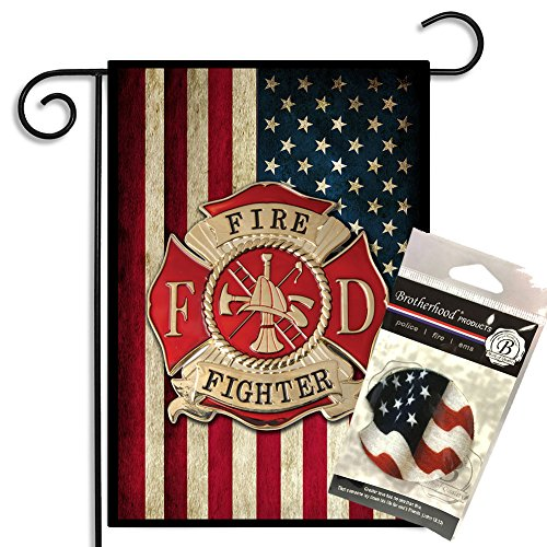 Firefighters American Flag Maltese Cross Garden Flag w Absorbent Car (Maltese Garden)