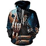 Lontse Hoodies Men Skull 3D Graphic Print Sweatshirts Pullover Tops with Pocket