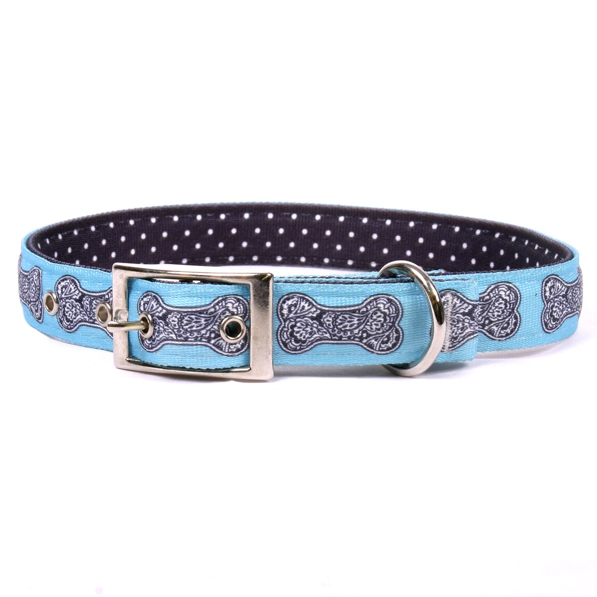Large 24\ Yellow Dog Design Bella Bone bluee Uptown Dog Collar Fits Neck 20 To 24 , Large 1