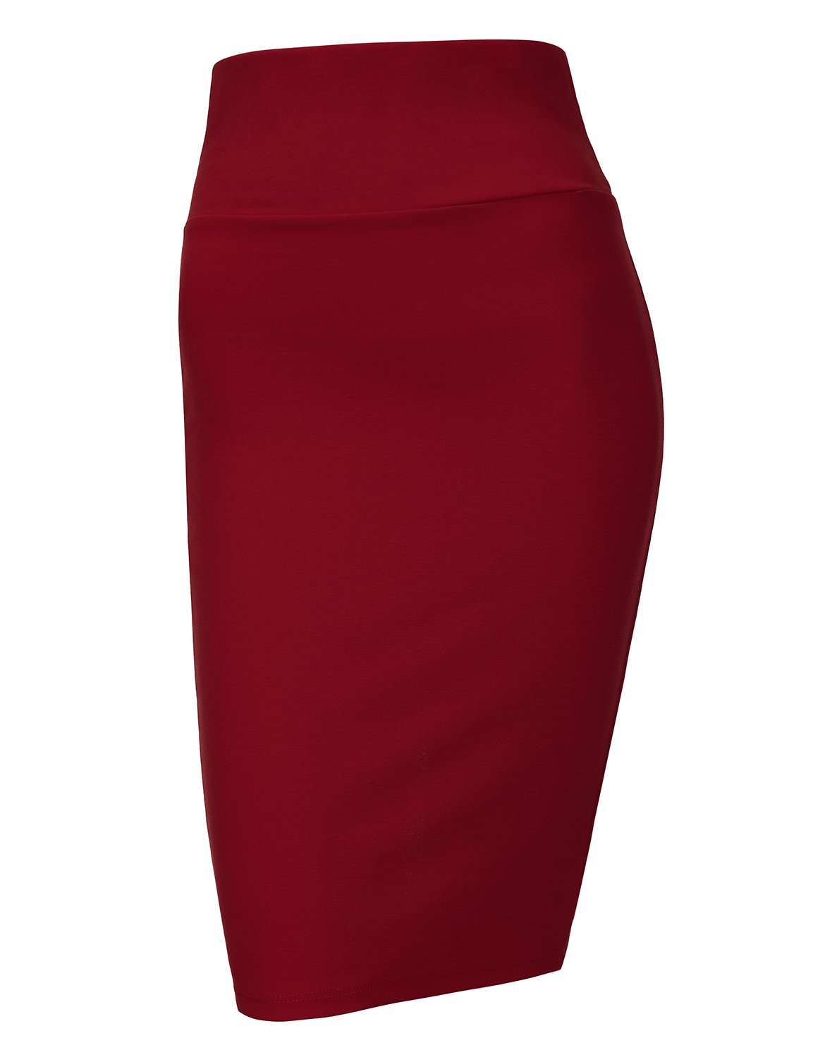 Regna X Love Coated Womens Plus Size Office Pencil Long Skirt Wine 2XL by Regna X