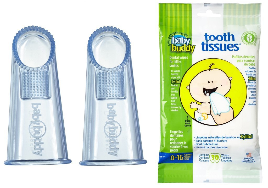 Baby Buddy Wipe-N-Brush & 30 Wipes-Innovative 6-Stage Oral Care System Grows With Your Child-Stage 3 for Babies/Toddlers-Kids Love Them Blue 2 Pack by Baby Buddy