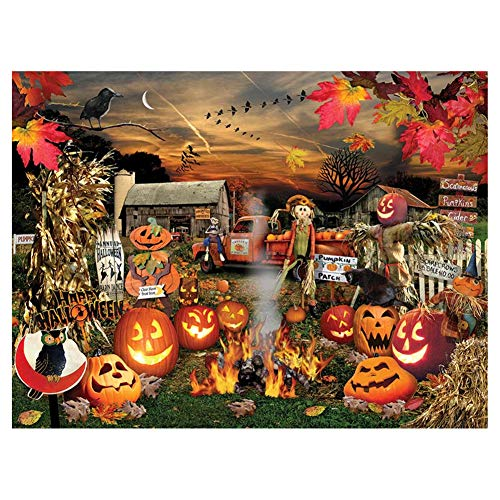 Aphila 5D DIY Diamond Painting Kits for Adults Full Drill Square Resin Rhinestones Embroidery Cross Stitch Home Decor Gift Halloween Pumpkin 30x40cm/12