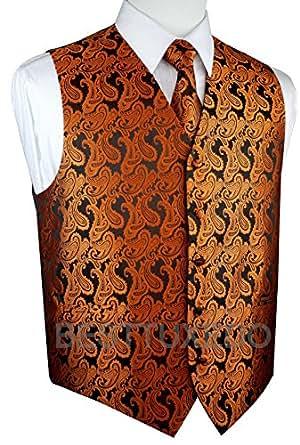 Brand Q Men's Tuxedo Vest, Tie & Pocket Square Set-Burnt Orange Paisley-2XL