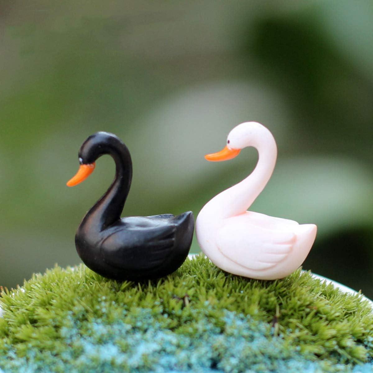 DAWEIF 10pcs Mini Black White Swan Miniature Figurine Fairy Garden Mini Bonsai DIY Love Ducks Ornaments Desktop Decoration(Black&White)