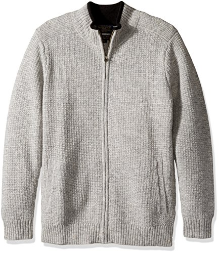 Pendleton Men's Shetland Full-zip Cardingan Sweater, Grey Heather-61115, LG ()