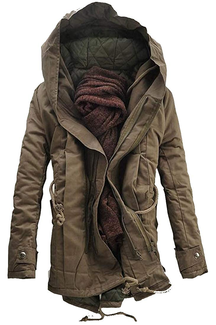 Fubotevic Mens Parka Hooded Winter Warm Fleece Relaxed Fit Plus Size Thicken Quilted Jacket Coat Outerwear