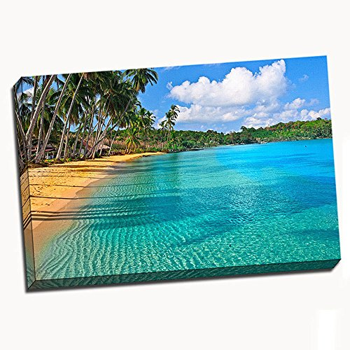 """Paradise Beach Stretched Canvas 24""""X36"""" Wall Art"""
