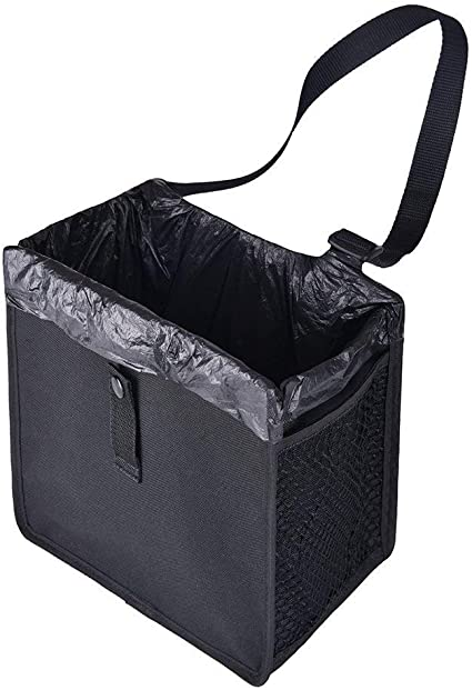 ROYAMY Car Trash Can with Lid,Car Trash Bag Hanging with Storage Car Organizer