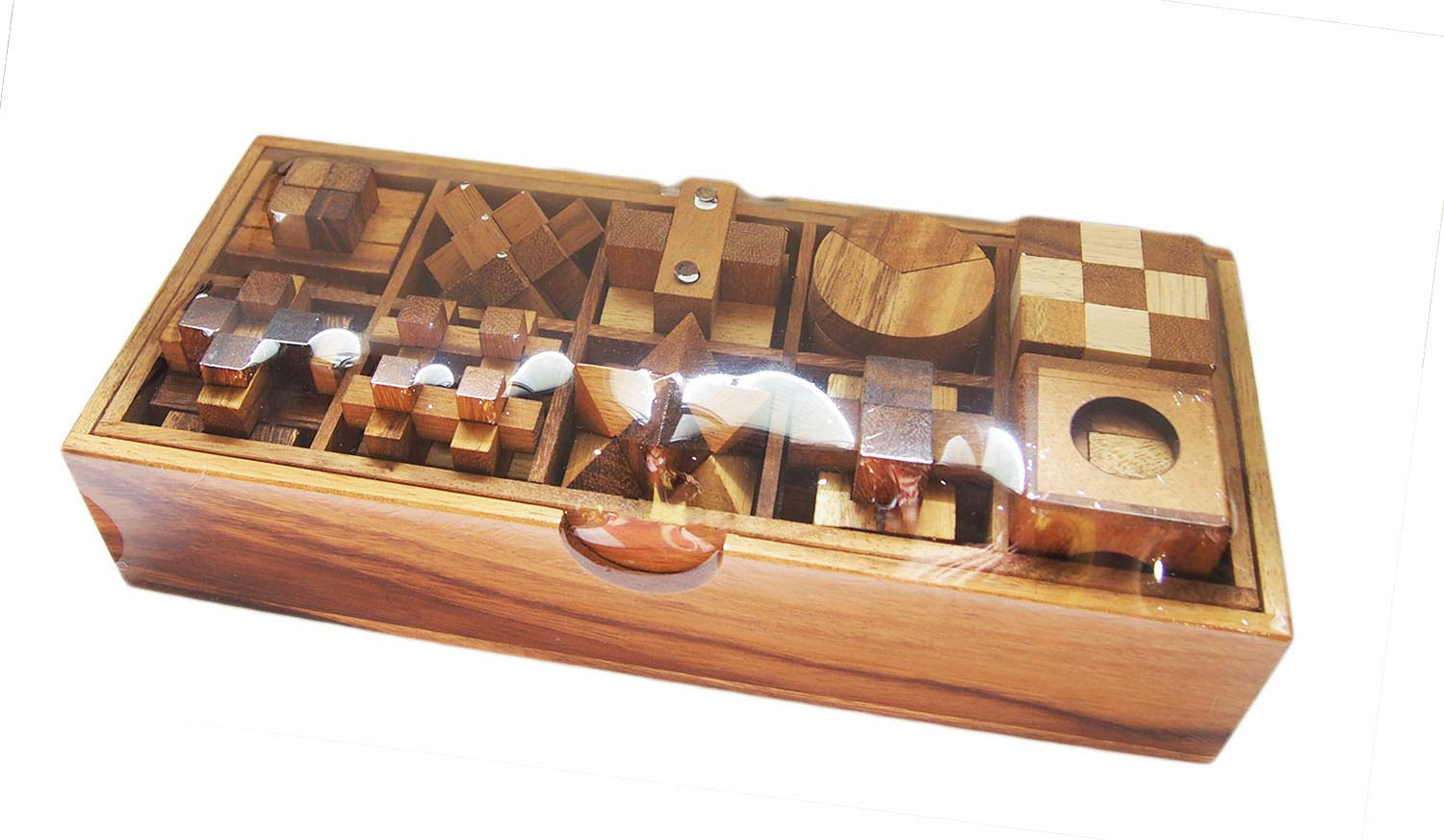 10 of 3D Wood Puzzles Brain Teasers Game in Wooden Box Set CMStar