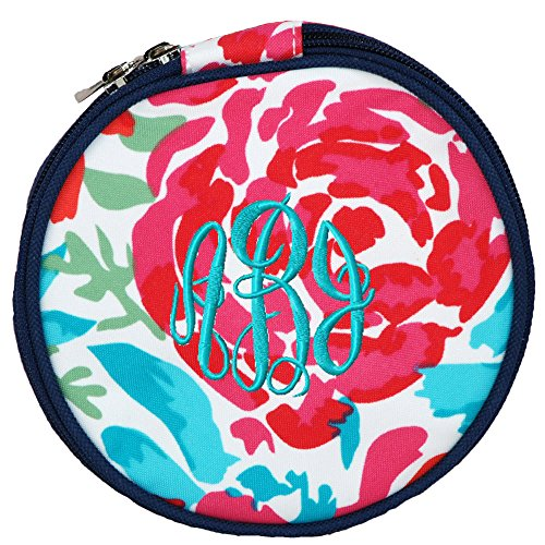Personalized Floral Meadows Round Jewelry Travel Organizer Bag