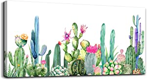 Wall Art for living room Canvas Prints Artwork bathroom Wall Decor Simple Life Green plants cactus Picture Watercolor painting Framed bedroom wall decorations Office posters Works Home Decoration