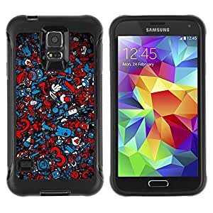 Hybrid Anti-Shock Defend Case for Samsung Galaxy S5 / Cool Graffiti Abstract Pattern
