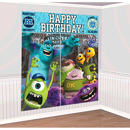 Amscan Monster-Mazing Disney Monsters University Birthday Party Scene Setters Wall Decorating Kit (5 Piece), Multicolor, 59