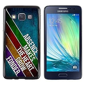 [Neutron-Star] Snap-on Series Teléfono Carcasa Funda Case Caso para Samsung Galaxy A3 [Ausencia Amor Líneas Corazón Diseño Mensaje Moderno]