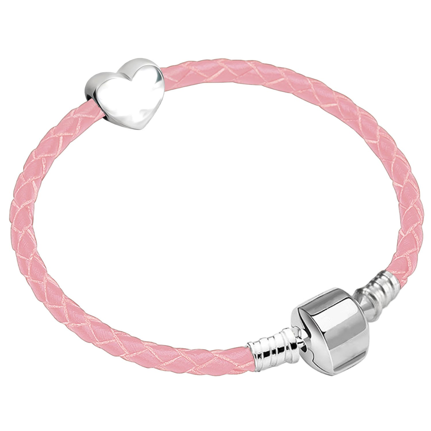 18cm Girls Leather Starter Charm Bracelet with Silver Heart and Gift Box for Age 12-18 Years Charm Buddy ®