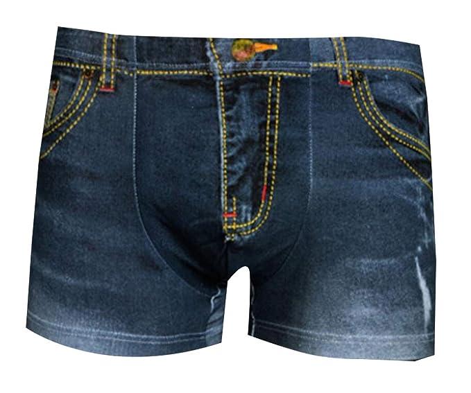 7687cc74313 ouxiuli Mens New Slim Fit Convex Bulge Shorts Men Fake Jean Briefs ...