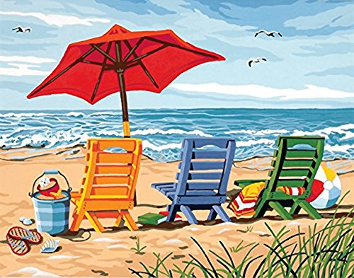 Version 3.0 HD DIY Oil Painting by Numbers Kit Theme PBN Kit for Adults Girls Kids White Christmas Decor Decorations Gifts - 16 x 20 Beach Chair Trio Paint Works (No Framed)