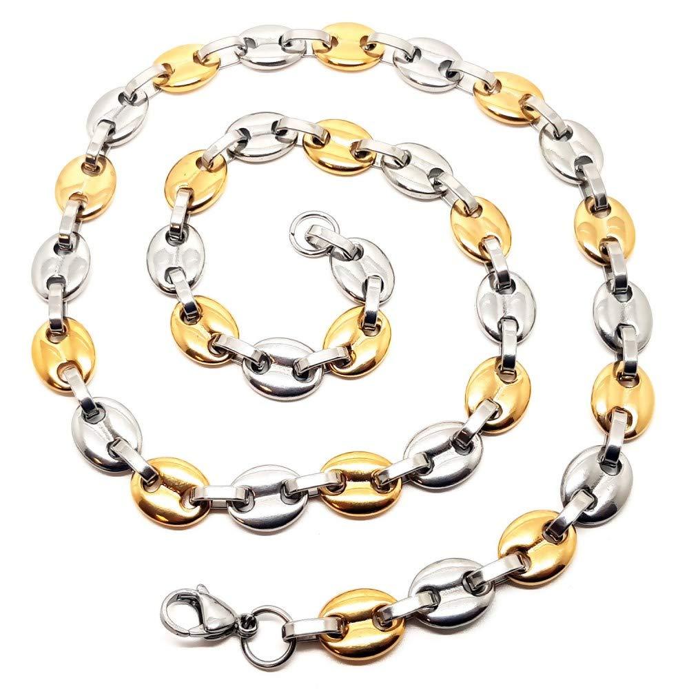 BOBIJOO Jewelry Gros Collier Cha/îne Grain de Caf/é Homme Acier Argent/é Plaqu/é Or 13x11mm 60cm 72g