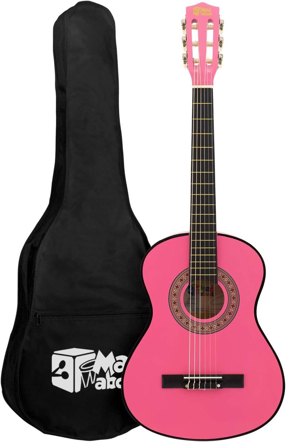 Guitarra clásica Mad About – Colorida guitarra española con bolsa de transporte, correa, púa y cuerdas de repuesto: Amazon.es: Instrumentos musicales