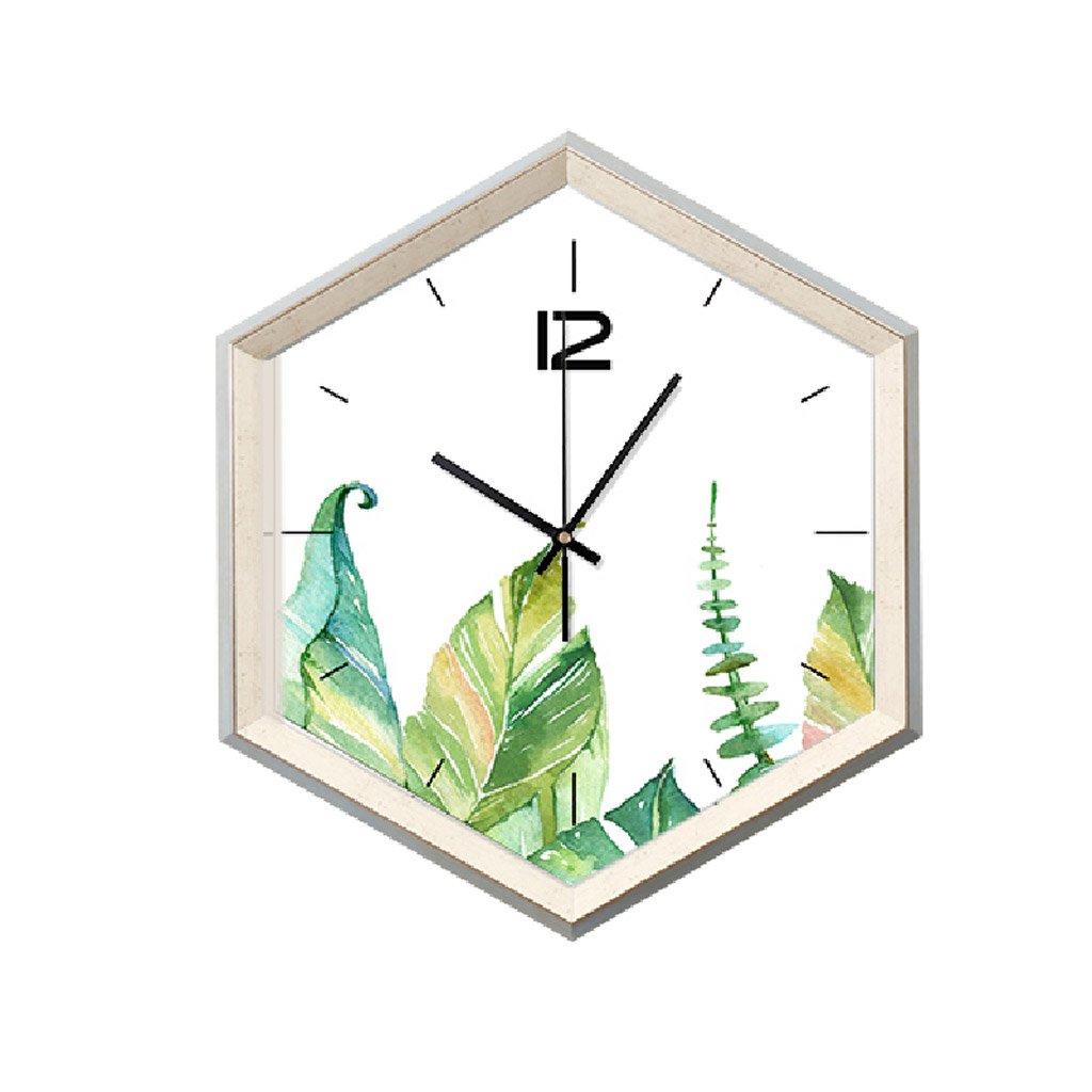 Unbekannt Wanduhr Kreative Blätter Muster Wanduhr Grün Frisch Kinderzimmer Schlafzimmer Schöne Große Größe Stumm 49 * 29 cm wanduhren Rollsnownow