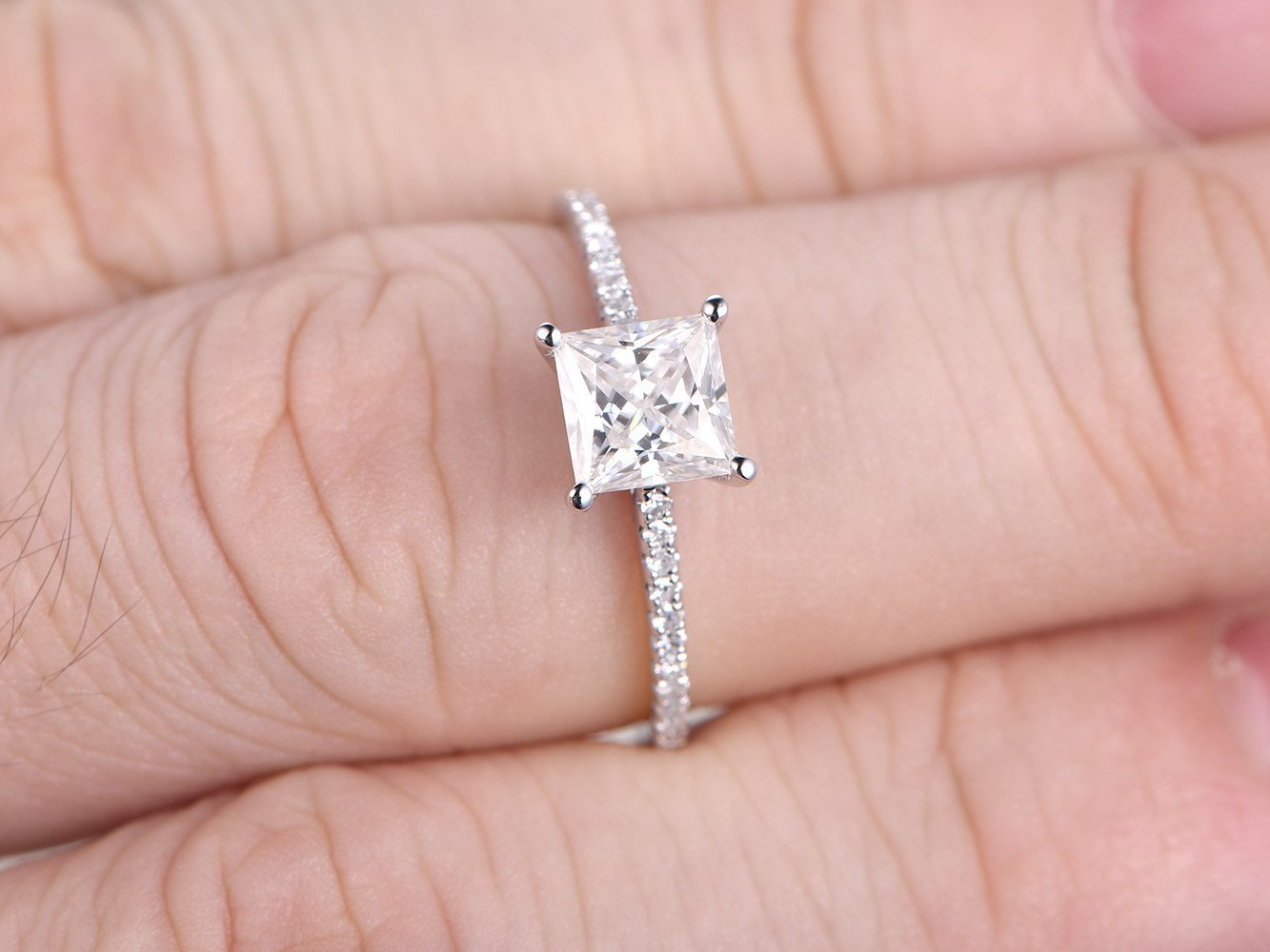 Amazon.com: 5.5mm Princess Cut Moissanite Solid 14k White Gold ...